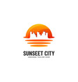 logo sunset city gradient colorful style vector image