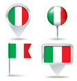 Map pins with flag of Italy vector image