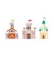 medieval fairytale castles cartoon set vector image