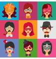 People Faces In Carnival Masks vector image vector image