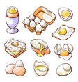 raw fried sunny side up and boiled eggs hand vector image