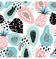 seamless pattern with creative modern fruits hand vector image vector image