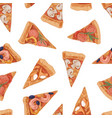 seamless pattern with different italian pizza vector image vector image