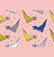 seamless pattern with dinosaurs origami in blue vector image vector image
