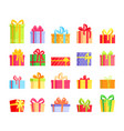 set colorful wrapped gift present vector image