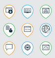 set of 9 advertising icons includes loading speed vector image vector image