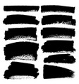 set of brush stroke black ink grunge brush vector image vector image