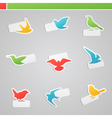 Set of multicolored birds with tags vector | Price: 1 Credit (USD $1)