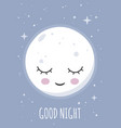 sleeping smiling moon wishing good night vector image