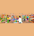 supermarket people shopping vegetables store vector image vector image