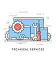technical services computer repair support flat vector image vector image