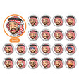 the third set of saudi arab man cartoon character vector image vector image
