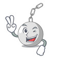 two finger wrecking ball hanging from chain vector image