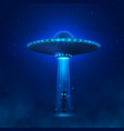 ufo with ray light fly in night sky alien vector image vector image