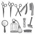 vintage hairdresser tools set vector image