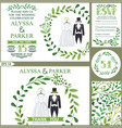 wedding invitationgreen branches wreath wedding vector image vector image