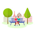 young couple spend time in the city park vector image