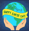 earth day planet in our hands vector image