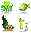Sea animals in green color vector image