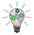 Light Bulb with Colorful Gears vector image