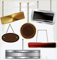 Signs and labels on gold and silver chain vector image
