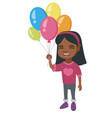 african girl with the bunch of colorful balloons vector image vector image