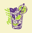alcohol cocktail mojito vector image vector image