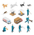animal control service isometric set vector image