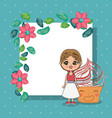 beautiful girl with cupcake kawaii characters vector image