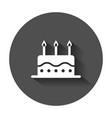 birthday cake with candle flat icon fresh pie vector image vector image