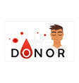 blood donor colorful icon - smiling young man in vector image