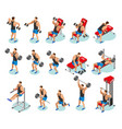 body building isometric icons vector image