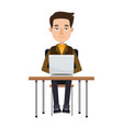 cartoon young man working laptop sitting image vector image