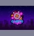 casino night neon logo casino neon sign vector image vector image