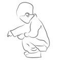 child crouching on white background