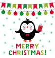 christmas greeting card with a cute penguin vector image vector image