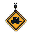 color caution diamond emblem with laborer in vector image vector image