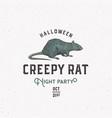 creepy rat halloween night party sign logo vector image vector image