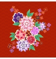 Decorative kimono floral motif on red background vector image vector image