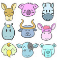 doodle of funny animal head colorful vector image vector image