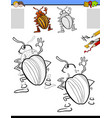 drawing and coloring activity with potato beetle vector image vector image