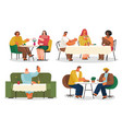 eating out cafe or restaurant friends and couple vector image vector image