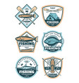 fishing sport icons set vector image