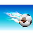 Flaming Soccer Ball in Sky vector image vector image