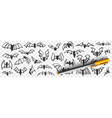 flying bats at night doodle set vector image vector image