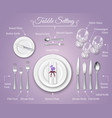 formal dinner place setting infographics vector image