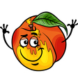 funny peach fruit cartoon vector image vector image