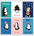 holidays greetings cards cute penguins vector image vector image