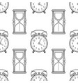 hourglass and alarm clock black and white vector image vector image