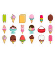 ice cream icon set cartoon style vector image